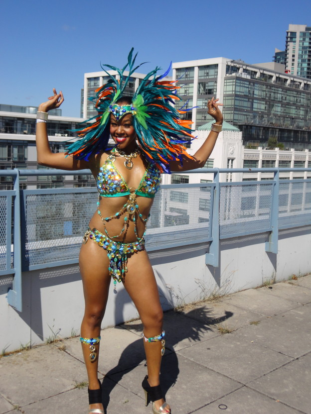 At my yearly pre-parade rooftop photoshoot.  Band: Carnival Nationz.  Section: Mandarin Fish.