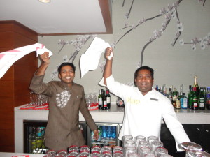 Two of our awesome bar staff, Sumesh and Dony! I'm too much of an alcohol novice to comment on their bartending skills but I know they make the experience enjoyable! (This is them jumping up to Hot Hot Hot - made me so happy!)